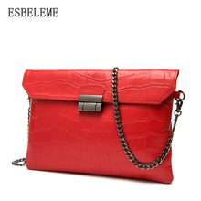 Luxury Genuine Leather Women Handbags for Female Red Black Chain Bags Ladies Envelope Womens Leather Briefcase Promotion YI367