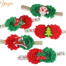 5Pcs/lot Chic European Christmas Festival Floral Tree Deer Santa Elastic Headband Trendy DIY Hair Accessories For Kids Headwear