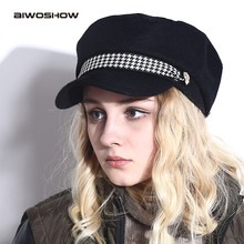 Military Hat Winter Knitted Cap Flat Top Hats For Women Black Grey Male Female Casquette Militaire Gorra Plana(China)