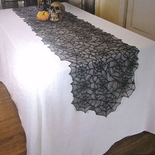 1pcs 18X72inch Halloween Table Decoration Halloween Spider Web Table Runner Black Lace Tablecloth Event Party Supplies H