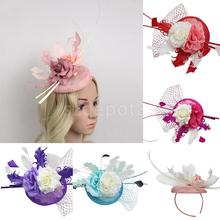 Feather Fascinator Flower Net Veil Linen Mini Top Hat Headband Wedding