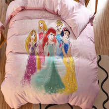 Princess 3D Bedding Sets Children's Girls Bed  Sheets Coverlets Cartoon Disney Sanding Cotton Warm Winter Single Twin Queen Pink