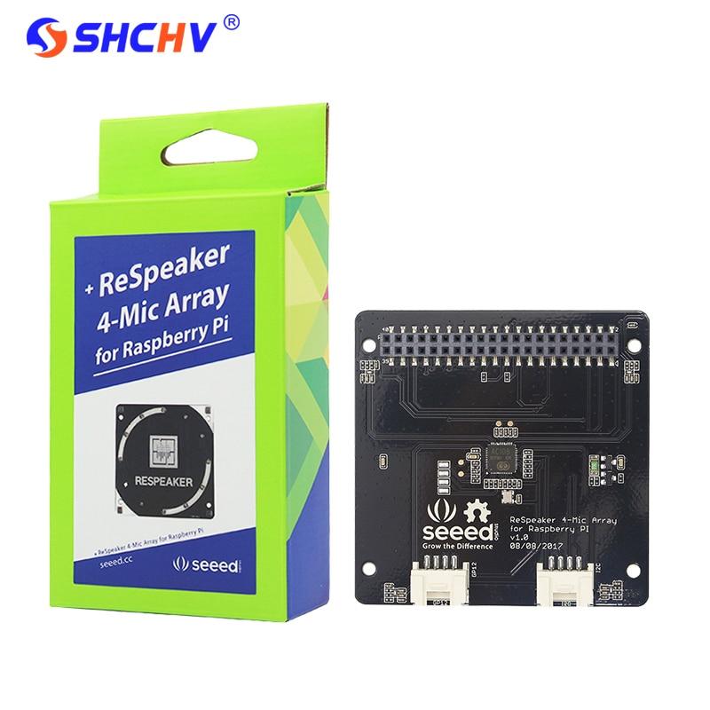 Raspberry Pi 3 for ReSpeaker 4-Mic Array for Raspberry Pi 4 Microphones Array  for AI Voice Quad-microphone Expansion Board <br>