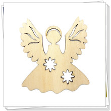 Hobby Craft Wood Shapes Angel Ornaments Christmas Decoration Natural Wood Veneer DIY Raw Wooden Shape DIY Home Decorations