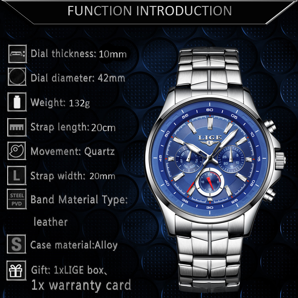 LIGE Mens Watches Waterproof Top Brand Luxury Quartz Watch Men Sport Watch Fashion Casual Military Clock Male Relogio Masculino 8