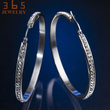 55mm Big Stainless Steel Earring Never Fade Circle Round Ear Jewelry Full AAA Cubic Zircon Crystal Stone Hoop Earrings for Women(China)