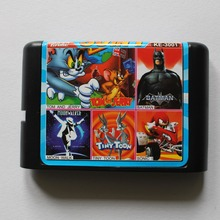 Batman/ Tiny Toon/ Moonwalker/ Sonic/ Tom and Jerry 30-In-1 16 bit MD Game Card For Sega 16bit Game Player(China)