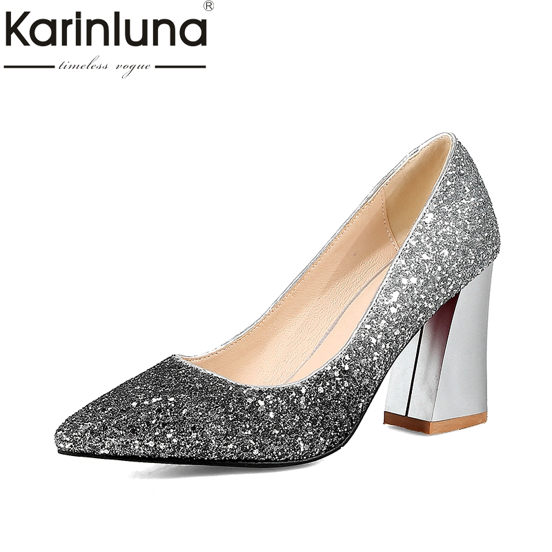 KARINLUNA 2018 New Large Sizes 34-43 Pointed Toe Party Shoes Women Sexy Hoof High Heels Slip On Bling Wedding Pumps Woman Shoes<br>