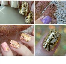 2017 Nail Decoration Art Accessories Two Designs 1PCS Gold Color 3D Nail Art Decorations Stickers(China)