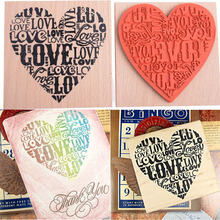 DIY Fashion Craft School Scrapbooking Decor Heart Shape Blocks Wooden Rubber Craved Printing Stamp