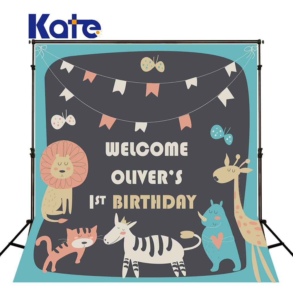 Kate Photography Blackboard Cartoon Animals Cat Giraffe Lion Kate Photographic Studio Background<br>
