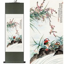 Chinese Silk ink watercolor flower birds Peach Blossom mandarin duck art feng shui canvas wall picture framed scroll paintings(China)