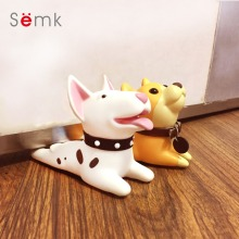 Semk Cute Cartoon Dog Door Stopper Holder Bull Terrier PVC safety for baby Home decoration Dog Anime Figures Toys for Children(China)