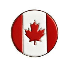 One Set of 10 Canadian Flag Metal Golf Ball Markers 24.4mm Diameter - Fit Magnetic Hat Clip or Divot tool