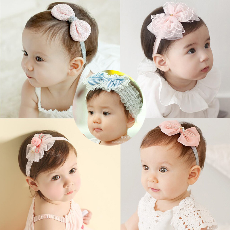 Apparel Accessories Fashion Boutique Princess Style Hair Accessories Solid Color Fabric Bud Silk Yarn Beaded Wide-brimmed Bow Headband Headband Girl