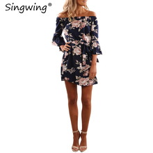Singwing Printed Floral Chiffon Women Dress Flare Sleeve Off the shoulder Dresses Sexy Summer Beach Holiday Dress