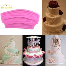 Classic Swag Cake Border Silicone Molds Ribbon Curtain Embossed Mold Lace Cupcake Chocolate Pastry Sugar Brim Decor Mould(China)