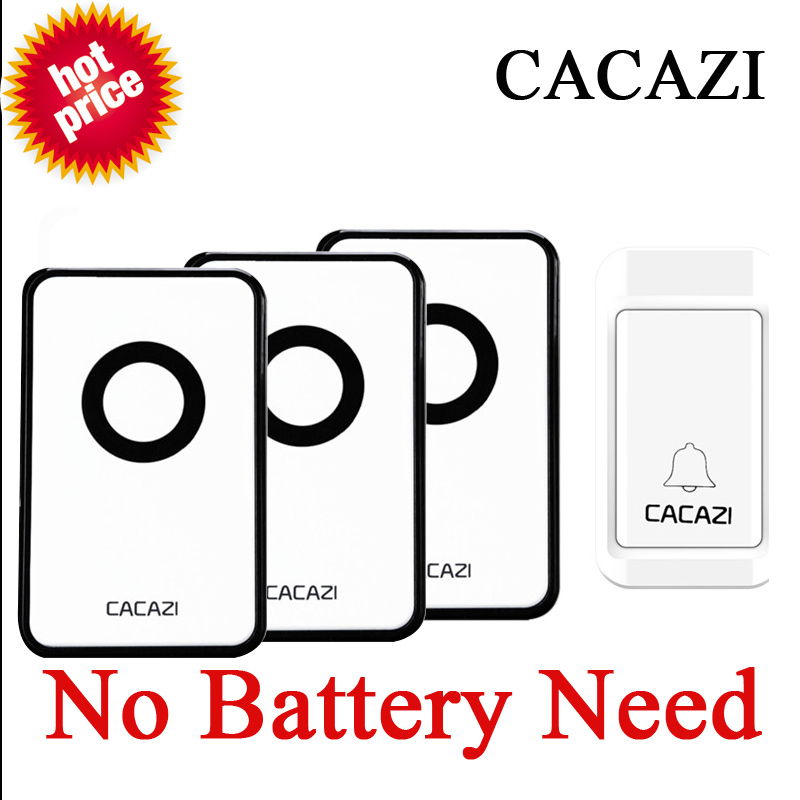 CACAZI  No Need Battery Wireless Door Bell Waterproof Doorbell 220V Long Remote Control Home LED Doorbells For Elderly  1V3<br>