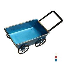 Cute Dollhouse Metal Miniature Metal Small Pulling Cart Garden Furniture Accessories Toy For Home Decor Gift Retro Ornament L40