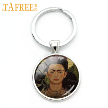 TAFREE 2017 Brand Frida Kahlo self-portrait keychain Rhodium Plated charm for women glass Vintage Handmade novelty jewelry A291