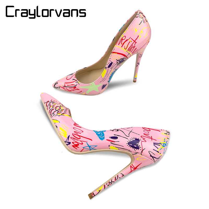 Craylorvans 2018 Graffiti Colorful Brand Wedding Party Shoes Pink High Heels Sexy Spring Women Shoes Pointed Toe Women Pumps <br>