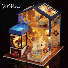 New KiWarm Fashion Wooden Assembled Cottage Dollhouse Miniature With Furniture LED Light Home Room Set Gift DIY Ornament(China)