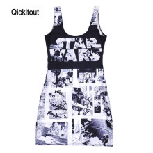 Qickitout High Quality Fashion Dresses for Womens STAT WARS Comics 3D Digital Printing Sundress Vest Dresses Free Shipping