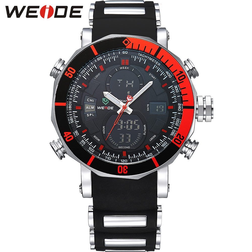 WEIDE Unique Red Black Mens Digital Dual Time Watch Stainless Steel Back Big Dial 30M Waterproof LCD Wristwatches Sale Items<br>