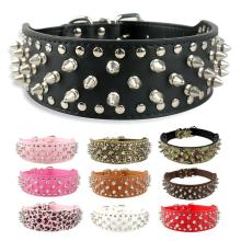 2 inch Wide Spiked Studded Pu Leather Dog Collar for Pitbull Medium Large Breeds Dogs