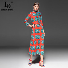 High Quality New 2018 Runway Fashion Designer Dress Women's Wrist Sleeve Bow Collar Vegetables Print Red Elegant Long Dress
