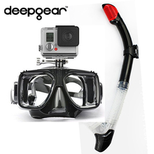 DEEPGEAR diving mask snorkel set Tempered camera mask to GORPO XIAOMI SJ CAMERAS Full dry snorkel Top undersea scuba dive gears(China)