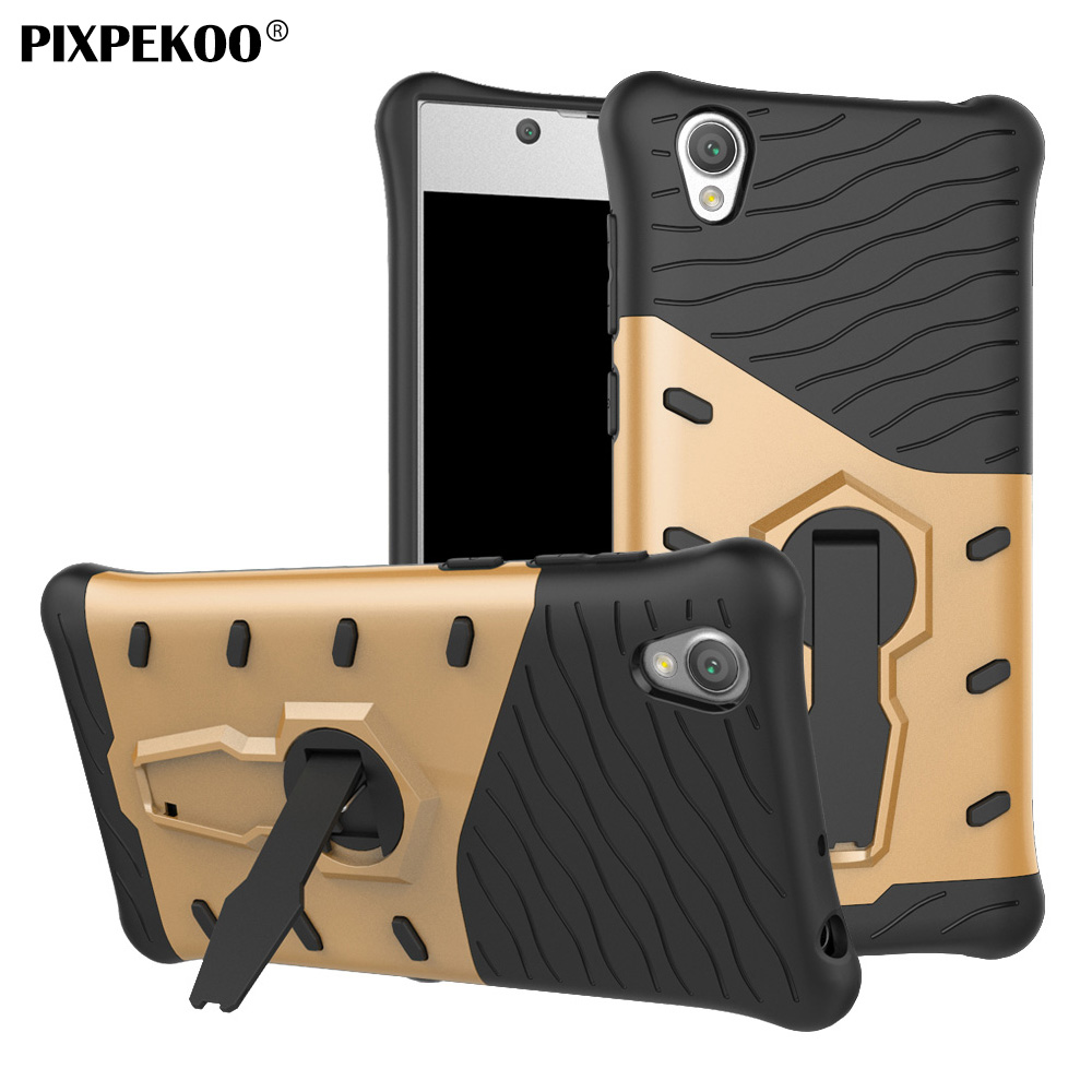 PIXPEKOO Sony Xperia L1 G3312 Case Shockproof Bumper Slim Fit Armor Protective Phone Cover Bag Kickstand Stand