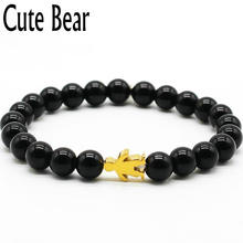 Cute Bear Brand 8mm Natural Stones Bead Bracelets Women Stainless Steel Little Boy Charm Bracelet For Women Fashion Jewelry Gift