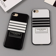Luxury Brand THOM BROWNE Stripe Soft Case Cover For iPhone 6 6S Plus 5 5s SE PU Leather Phone Case For iPhone 7 Plus Cover Cases