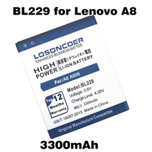 LOSONCOER 3300mAh BL229 for Lenovo A8 Battery A806 A808t Phone Battery Free Shipping + Online Track Number(China)