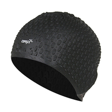 COPOZZ Silicon Swimming Hat Cover Protect Ear Long Hair Waterdrop Swimming Caps(black)