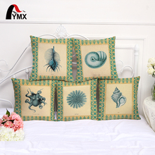 Sea Style Cushion Cover Cotton and Linen Marine Life Printing Pillowcase For Sofa Living Room Bedroom Decor Pillow Case