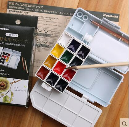 Japan kuretake  solid transparent watercolor 12 color Jane sleeve type Paints Outdoor Painting Pigment Portable Sketch Color Art<br>