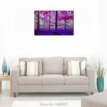1 Pieces Purple Forest Painting Tree Artworks Printed On Canvas Landscape Picture Wall Art For Home Wall Decoration No Framed