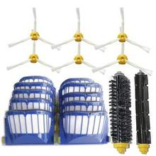 10 blue AeroVac Filter+ Hair Brush kit + 6 side brush for iRobot Roomba 600 Series 595 620 630 650 660 Vacuum Cleaner Accessorie(China)