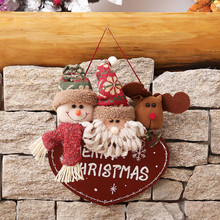 Christmas Decor Toy Doll Gift Home Children Kids Santa Snowman Wooden Hanging 2018 New Year Wall Hanging Ornament Party Decor(China)