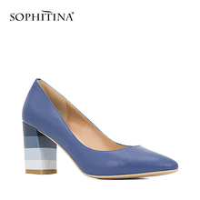 Buy SOPHITINA Genuine Leather Pumps Multicolour Square Heel Dark Blue Black Beige High Sheepskin Pointed Toe Shoes Women D24 for $41.54 in AliExpress store