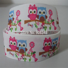9 16 25 38 50 75 mm width owl flower Printed Grosgrain Ribbon Hair Bows R424(China)