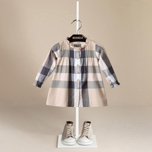 Promotion! Autumn Dress Baby Girls 2017 O-Neck Long Sleeve Cotton Dress A-Line Casual Plaid Dress Baby For Age 1-6T