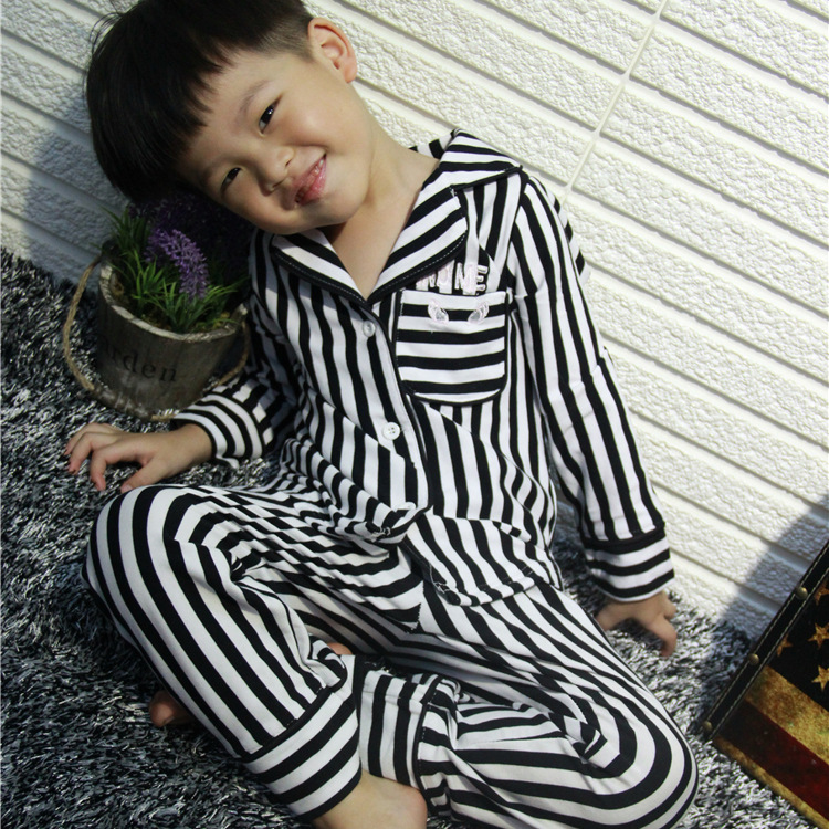 2017 autumn, the new boys and girls neutral fashion Striped Pajamas two suit home service free shipping<br><br>Aliexpress