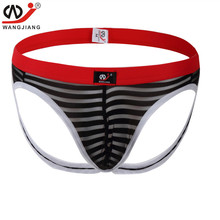 Buy Wangjiang Transparent Stripes Jockstrap Men Thong Gay Underwear Mens Thongs G Strings Man Sheer See Througn Jock Strap Pouch