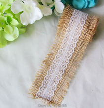 Buy 1Meter Natural Burlap Hessian Ribbon Lace Trim Garland Materical Rustic wedding 5cm Wide for $1.85 in AliExpress store