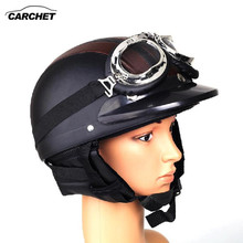 CARCHET Retro Motorcycle Helmet Open Face Detachable Helmets With Visor Goggles Adjustable Black&Brown Helmet FREE SHIPPING NEW