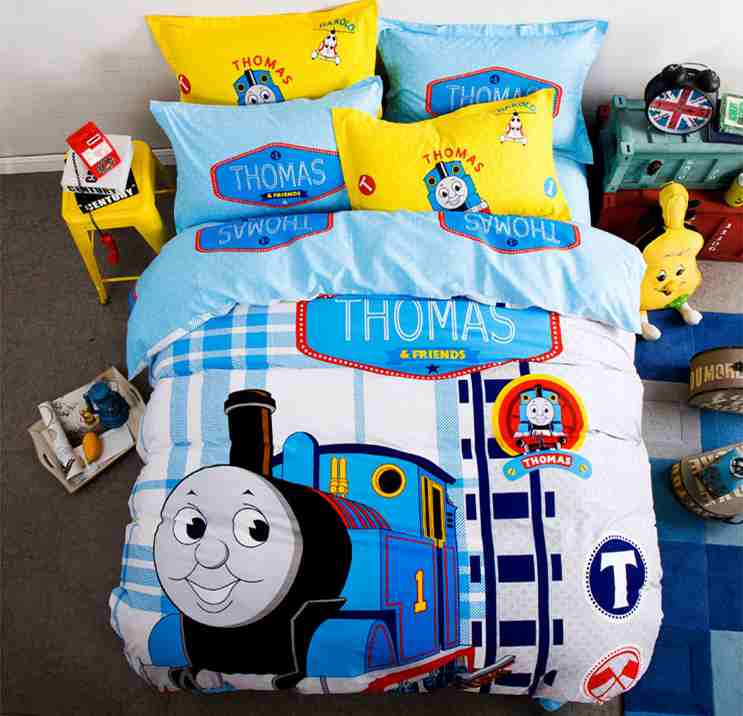 Free shipping via UPS 100%cotton Thomas train 3/4pcs bedding set without filler twin/full/queen size home textile(China (Mainland))