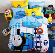 Free shipping via UPS 100%cotton Thomas train 3/4pcs bedding set without filler twin/full/queen size home textile(China)
